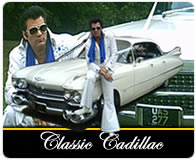 White Cadillac graphic with Elvis chauffeur